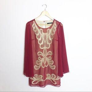 Ark & Co. | Garnet and Gold Long Sleeve Dress